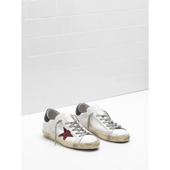Men's/Women's Golden Goose superstar sneakers leather glitter star red black