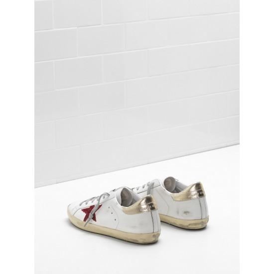 Men's/Women's Golden Goose superstar sneakers leather in red star white