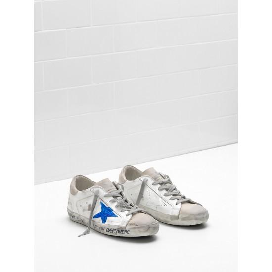 Men's/Women's Golden Goose superstar sneakers openwork star blue star logo