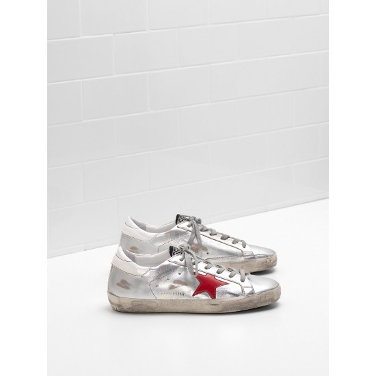 Men's/Women's Golden Goose superstar sneakers leather star in glossy material