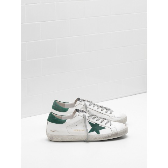 Men's/Women's Golden Goose superstar sneakers leather star in green star