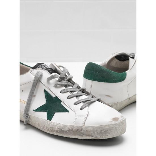 Men's/Women's Golden Goose superstar sneakers leather star in green star