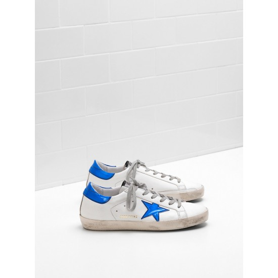 Men's/Women's Golden Goose superstar sneakers leather star in shiny blue star