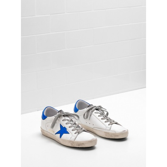 Men's/Women's Golden Goose superstar sneakers leather star in shiny blue star