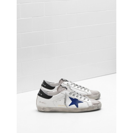 Men's Golden Goose superstar sneakers leather star in suede blue star