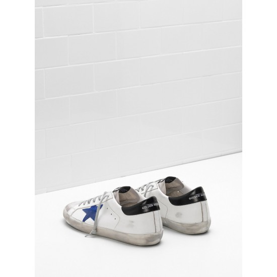 Men's Golden Goose superstar sneakers leather star in suede blue star