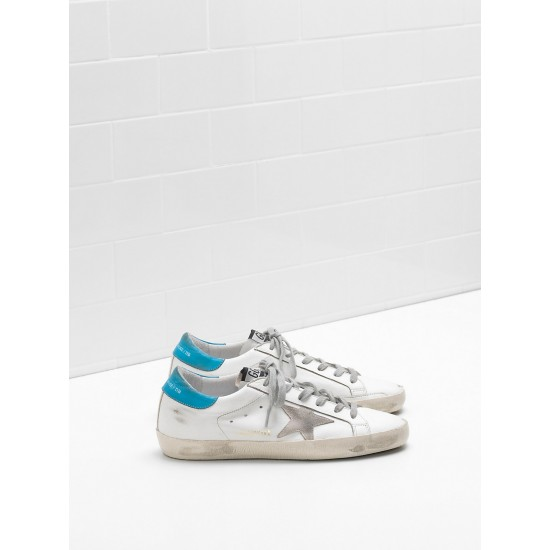 Men's/Women's Golden Goose superstar sneakers suede star logo lettering lack blue