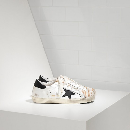 Women's Golden Goose sneakers superstar in destroyed zebra