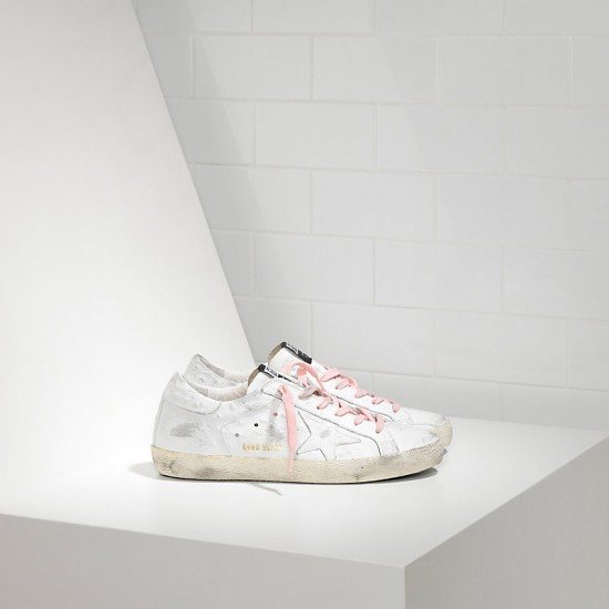 Women's Golden Goose sneakers superstar in white pink lace