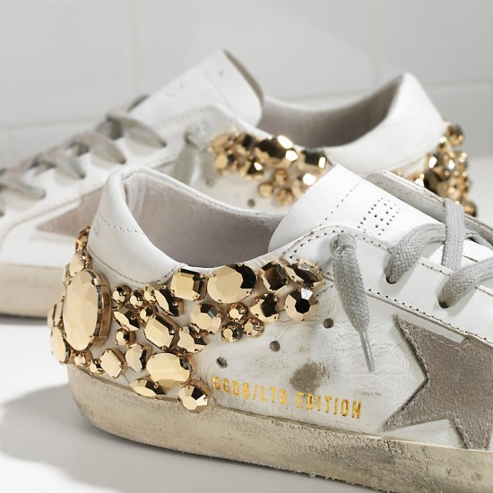 Women's Golden Goose sneakers superstar limited edition in gold diamond