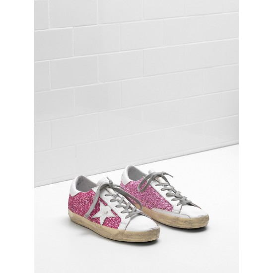 Women's Golden Goose superstar sneakers flag ltd fabric eyelets natural rose red