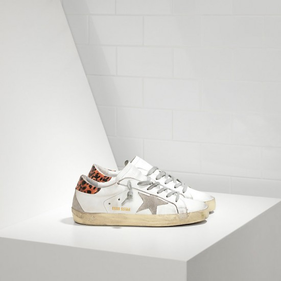 Women's Golden Goose superstar sneakers in leather star white leopard cream