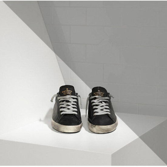Women's Golden Goose superstar sneakers in leather with openwork star black