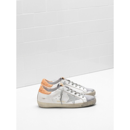 Women's Golden Goose superstar sneakers leather glitter coated star coated