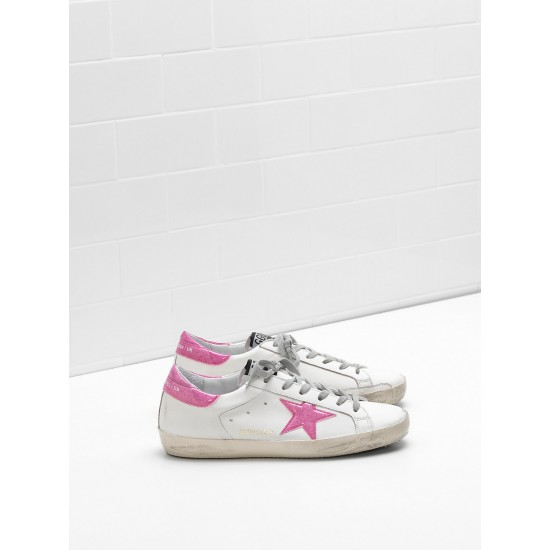 Women's Golden Goose superstar sneakers leather glitter star coated in pink star