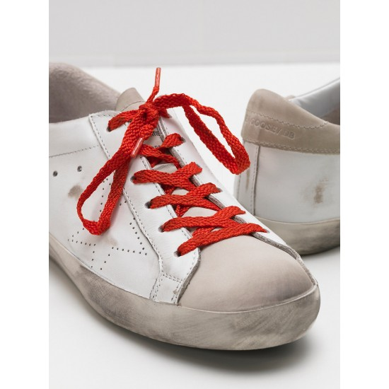 Women's Golden Goose superstar sneakers leather openwork star red lace