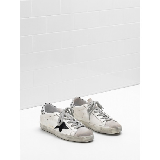 Women's Golden Goose superstar sneakers leather star in glitter black logo
