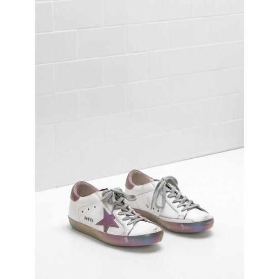 Women's Golden Goose superstar sneakers leather star in iridescent rainbow