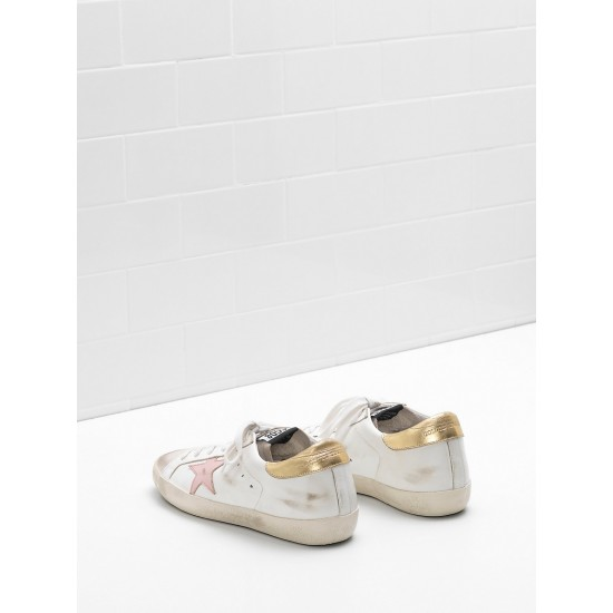 Women's Golden Goose superstar sneakers leather star in laminated