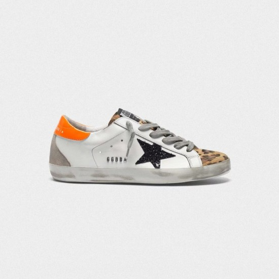 Women's Golden Goose superstar sneakers with leopard print black star orange