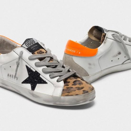 Women's Golden Goose superstar sneakers with leopard print black star orange