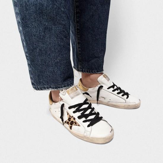 Women's Golden Goose superstar sneakers with leopard print star