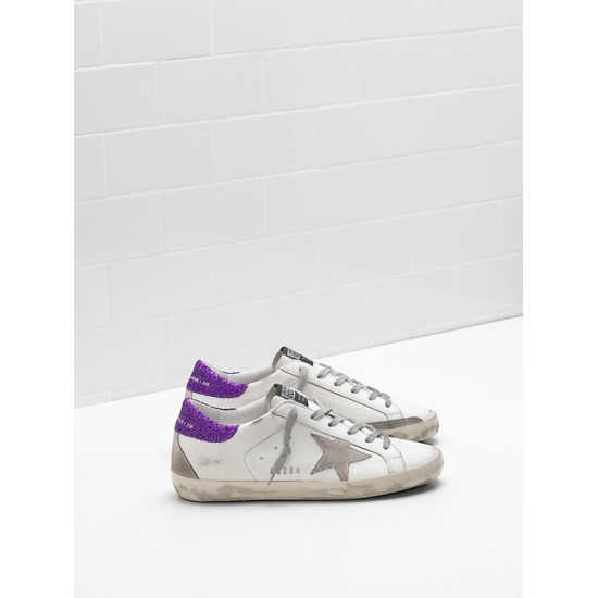 Women's Golden Goose superstar upper suede star glitter coated purple