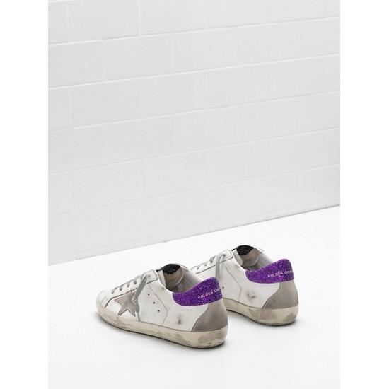 Women's Golden Goose superstar upper suede star glitter coated purple
