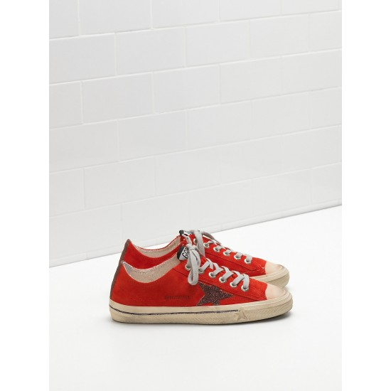 Men's/Women's Golden Goose v star 2 sneakers calf suede upper star red