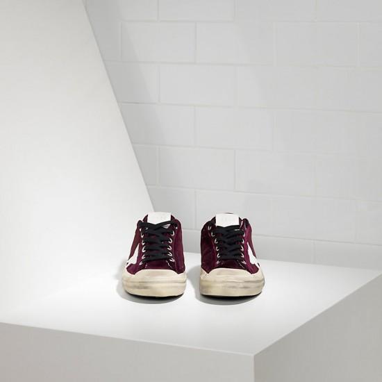 Men's/Women's Golden Goose v star 2 sneakers in wine white star logo