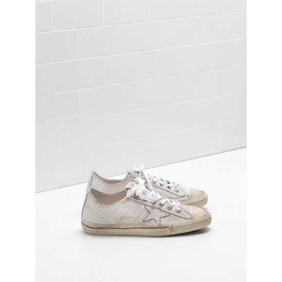 Men's/Women's Golden Goose v star 2 sneakers upper in crackle effect leather