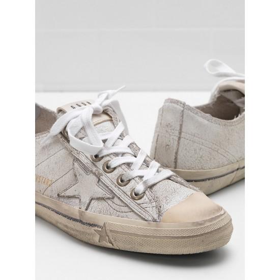 Men's/Women's Golden Goose v star 2 sneakers upper in crackle effect leather